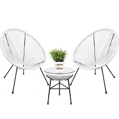 Best Choice Products 3-Piece Outdoor Acapulco All-Weather Woven Rope Patio Conversation Bistro Set w/Glass Top Table and 2 Chairs – White