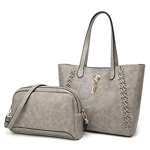 Ladies Knit Composite Handbag 2Pcs Gray Oil Lock Fashion Leather 566qP