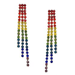 Rainbow Silver-Tone Simulated Diamond Earring
