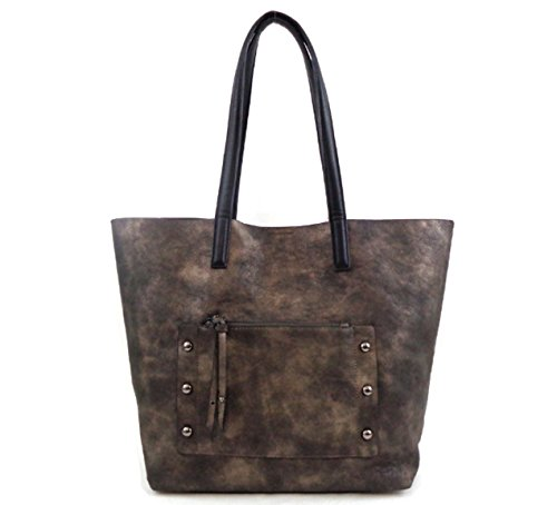 sondra-roberts-faux-bronze-leather-tote