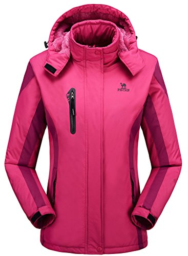 Athletic Winter Parka (Women's Alternative Outerwear Coats Snowboarding Fleece Lined Skiing Jackets Rose Red US Small/Asian XL)