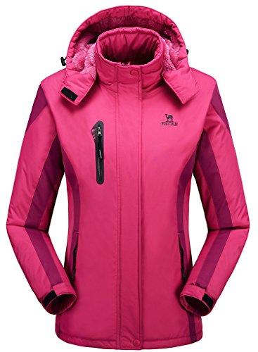 Ladies Snowboarding (Women's Alternative Outerwear Coats Snowboarding Fleece Lined Skiing Jackets Rose Red US Medium/ Asian)