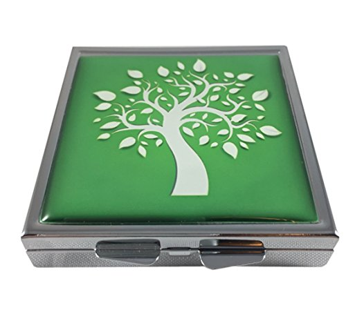 Tree of Life Square Silver Four Compartment Pocket/Purse/Travel Pill Box Case