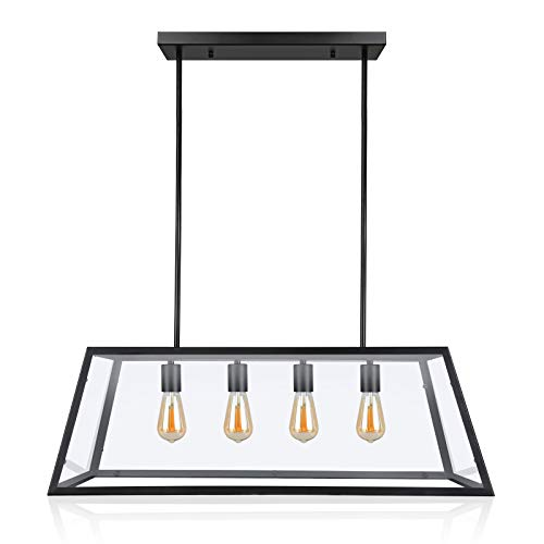 Paragon Home 4-Light Kitchen Island Pendant Lighting, Matte Black Shade with Clear Glass Panels, Dining Room Lighting Fixtures, Modern Industrial Chandelier, E26 Base (Bulbs Not Included)