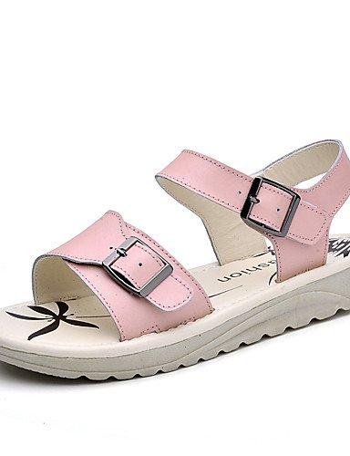 LFNLYX Zapatos de mujer-Tacón Plano-Gladiador-Sandalias-Vestido / Casual-Cuero-Azul / Rosa / Blanco Light Blue