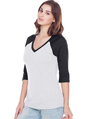 Kavio! Women Sheer Jersey Cntrst V Neck Raglan 3/4 Sleeve White/Black ()