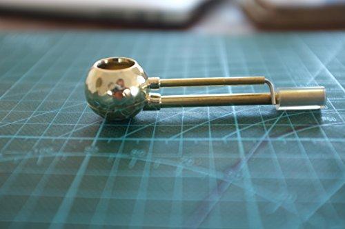 Disco Brass Pipe Unique Cleanable Smoking Pipe w/ Tar Trap Poker (Tobacco Smoking Ashtray)