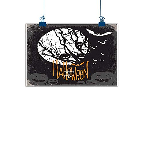 Sunset glow Fabric Cloth Rolled Vintage Halloween,Halloween Themed Image with Full Moon and Jack o Lanterns on a Tree,Black White for Boys Room Baby Nursery Wall Decor Kids Room Boys Gift 36