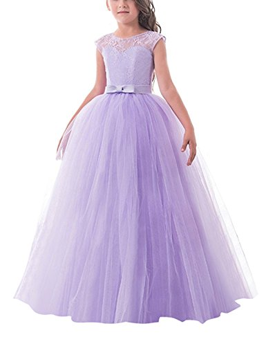 TTYAOVO Girls Pageant Ball Gowns Kids Chiffon Embroidered Wedding Party Dress Size 8-9 Years Purple