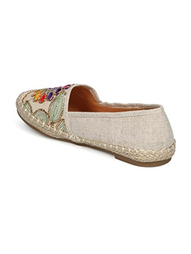 Women Linen Embroidered Nature Espadrille Flat HE51 - Beige Mix Media (Size: 10) by Alrisco (Image #2)