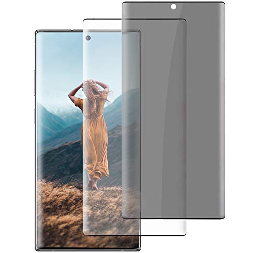 """Tempered Glass Screen Protector for Samsung Galaxy Note 20 Ultra, 2 Pack 3D Full Coverage Support Fingerprint Sensor [HD Clear + Privacy] 9H Hardness Screen Protector for Galaxy Note 20 Ultra (6.9"""")"""
