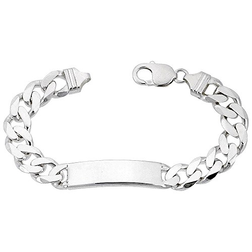 Sterling Silver ID Bracelet Curb Link 3/8 inch wide Nickel Free Italy, 8 inch by Sabrina Silver