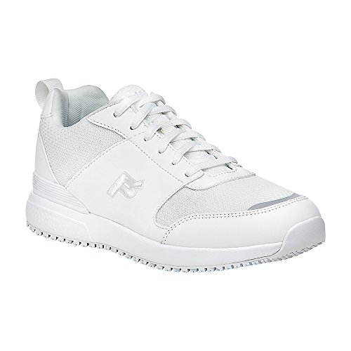 Slip Resistant Sneakers, White Microfiber, Mesh, Polyurethane, Foam, Rubber, 7.5 X-Wide ()