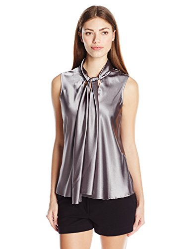 Nine West Women's Charmeuse Tie Neck Cami, Platinum, (Charmeuse Tank)