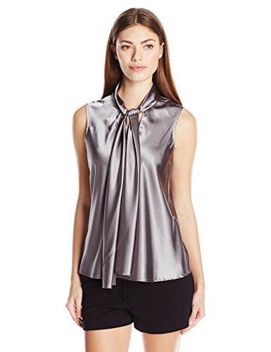 Nine West Women's Charmeuse Tie Neck Cami, Platinum, X-Small