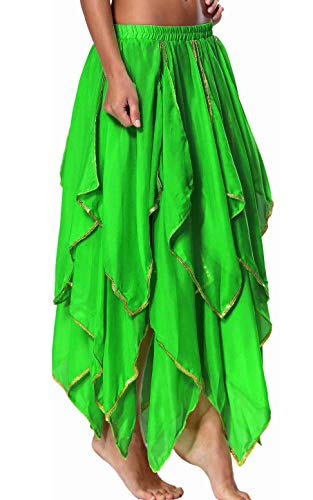 Seawhisper 13 Panel Dark Green Belly Dance Skirt Dancing Fairy Outfit Women Costume Festival Clothing]()