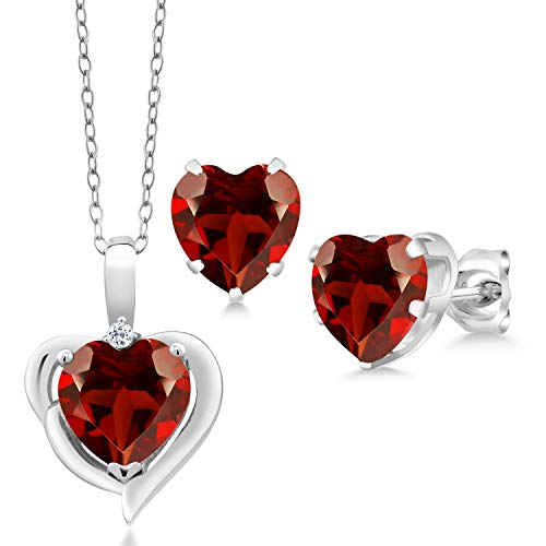 Gem Stone King 6.02 Ct Heart Shape Garnet White Topaz 925 Sterling Silver Pendant Earrings Set