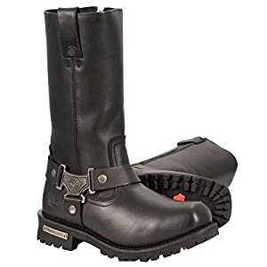 Milwaukee Leather Mens 11in Classic Square Toe Black Harness Boots - 14W