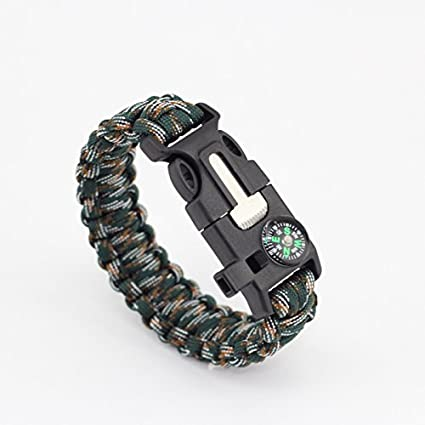 YOUKU 5 in 1 Multifunctional Paracord Bracelet with Compass Flint Fire  Starter Scraper Whistle (British 213f87afc00