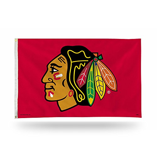 Rico Industries NHL Chicago Blackhawks 3-Foot by 5-Foot Single Sided Banner Flag with Grommets ()