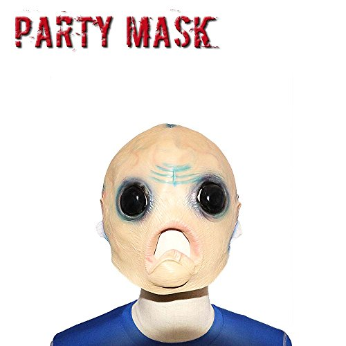 [Monstleo Latex Novelty Halloween Costume Mask Scary Horror Human Alien Head Mask] (Cute Alien Costumes Women)