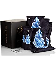 Bamboo Charcoal Air Purifying Bag-Activated Charcoal Odor Absorber-Bamboo Charcoal Bags-Nature Fresh Air Purifier Bags For Home, Cars, Shoes, Closets, Pets- 8 Packs ( 4 x 200 g+ 4x75 g ) & 4 Hooks (Oranda Blue)