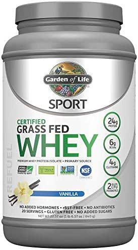 Garden of Life Sport Certified Grass Fed Clean Whey Protein Isolate, Vanilla, 22.57oz (1lb 6.57oz / 640g) Powder