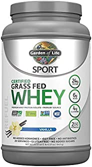 Garden of Life Sport Certified Grass Fed Clean Whey Protein Isolate, Vanilla, 22.57 Ounce