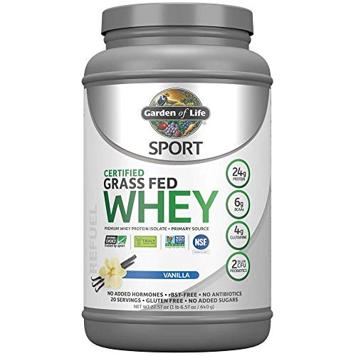 Garden of Life Sport Certified Grass Fed Clean Whey Protein Isolate, Vanilla, 22.57oz (1lb 6.57oz / 640g) Powder (Best Tasting Grass Fed Whey Protein Powder)