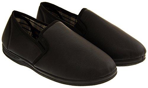 Piri Piri Hombre Gemelas cartela de imitación zapatillas de cuero Negro