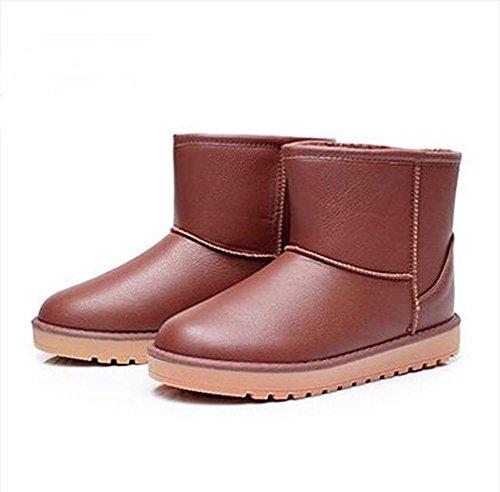 Automne et Hiver Imperméable en Cuir Surface Epaississement Plat Plus Velours Coton Anti-dérapant Multicolore Femmes Bottes de Neige , red brown , 37