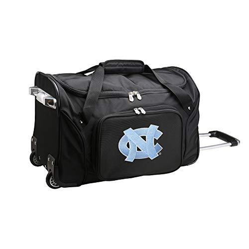 NCAA North Carolina Tar Heels Wheeled Duffle Bag, 22 x 12 x 5.5, Black