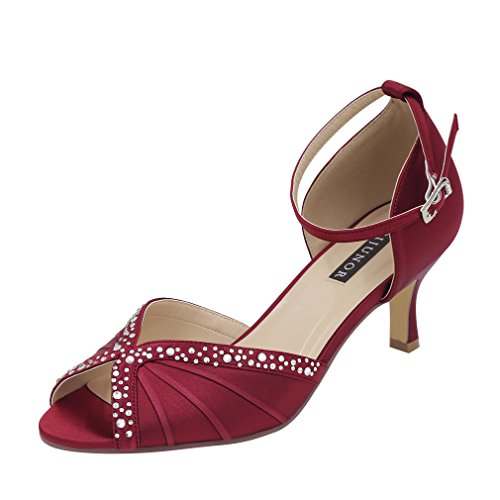ERIJUNOR-E8805C-Women-Comfort-Low-Heel-Ankle-Strap-Rhinestones-Pleat-Satin-Wedding-Evening-Dress-Dance-Shoes-Burgundy-Size-8