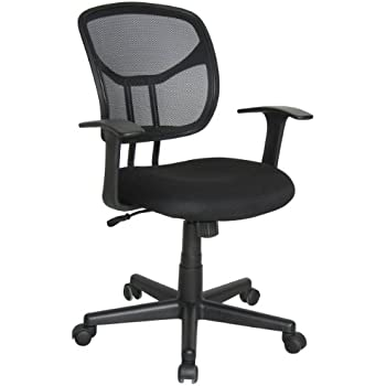 Attirant Essentials By OFM Mesh Swivel Task Chair With Arms, Black