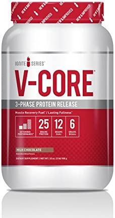 Complete Nutrition Ignite Series V-Core Protein Powder, Chocolate, Whey Protein Concentrate, Milk Protein Concentrate, Casein Protein, 25g Protein, 12g EAAs, 6g BCAAs, 2 lb Tub 23 Servings