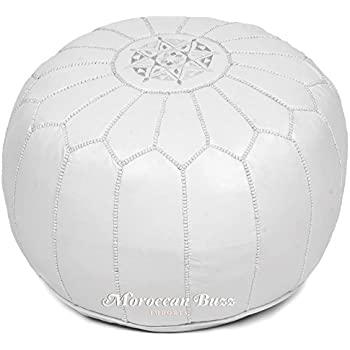 White Pouf Ottoman Custom Amazon Moroccan Buzz Premium Leather Pouf Ottoman Cover White