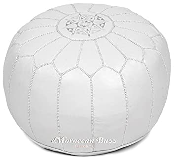 the best attitude ff04e 0cea4 Moroccan Buzz 18-Pound Premium Stuffed Leather Pouf Ottoman, White