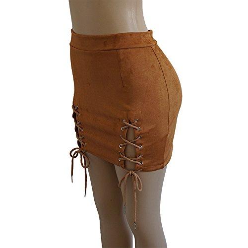 Courte Daim Et Bandage Jupe Simple Marron Confortable En Fhuuly Sexy Femmes Élastique Tissu b7y6fvYg