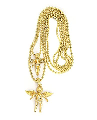 Iced Out Cherub Angel Micro Pendant Set w/ Ball Chains - Gold Tone RC387G (Angel Gold Chain For Men)