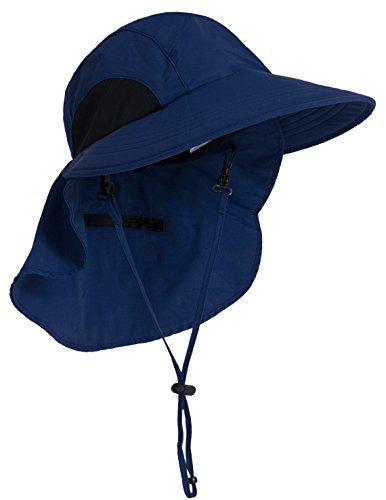 Tuga Adult Sol Wide Brim Hat (UPF 50+), Navy, Adult Medium