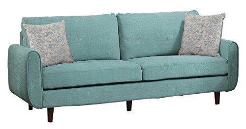 Homelegance Accent - Homelegance Wrasse Mid-Century Sofa with Accent Pillows, Teal