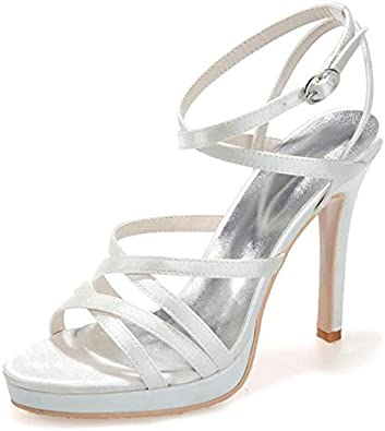 LLBubble Womens High Heels Platform Snakeskin Prom Evening Party Sandals Ankle Buckle Strap Open Toe Formal Occasion Wedding Sandals 5915-04