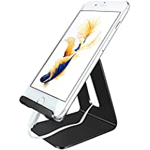 TOMERSUN Metal Cell Phone Stand, Tablet Stand, Phone Holder, Cradle, Dock, Compatible for All Smartphones(Black)