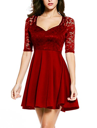 NuoReel Women's Lace Bodice Skater Dress (Large, Bright Red Halfsleeve)