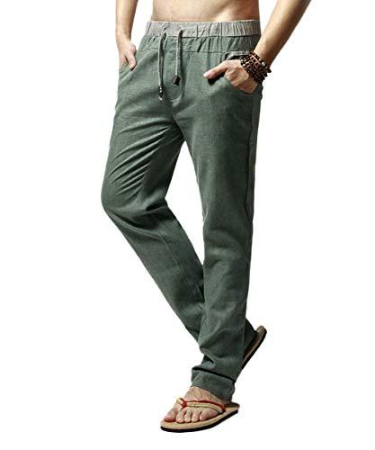 c8b96e5836 YFFUSHI Men's Drawstring Pants Casual Linen Elastic Waist Summer Beach  Trousers Loose Straight Pants