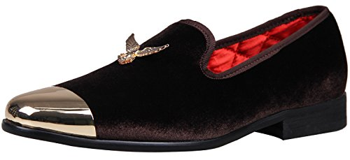 ELANROMAN Mens Noble Buckle Fashion With Metal Toe Men Velvet Loafers Shoes Party Wedding Handmade Dress Loafers Shoes For Men Big Size Coffee