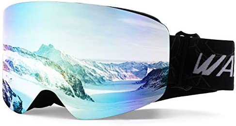 d52a13bc37f Wantdo Anti Fog Ski Goggle Cylindrical Design Dual Layers Lens UV400  Protection Snow Sports Glasses Snowboard Snowmobile Skate OTG Helmet  Compatible for Men ...