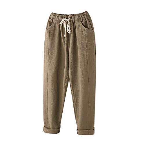 POQOQ Pants Leggings Women Comfy Casual Pajama Floral Print Lounge Drawstring Palazzo Long Wide Leg Floral Print M Khaki