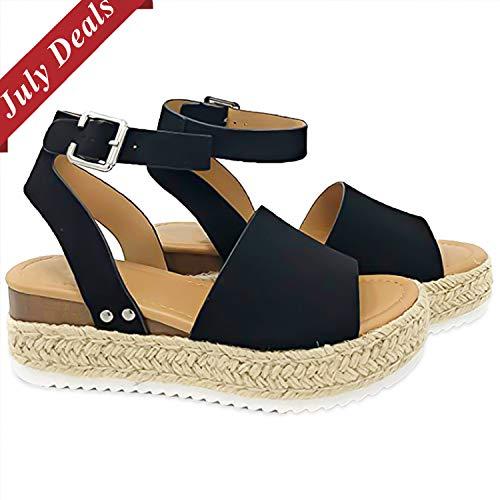 Joywow Women Sandals Casual Espadrilles Sandals Open Toe Platform Strappy Studded Wedge Buckle Ankle Strap Mid Heel Sandals (11 M US, A Black Women Sandals)