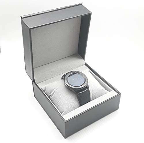 Caja Relojera Madera o Tacto Piel Porta Reloj Almohadilla Estuche Joyeria (360N Tacto-Piel, Negro)